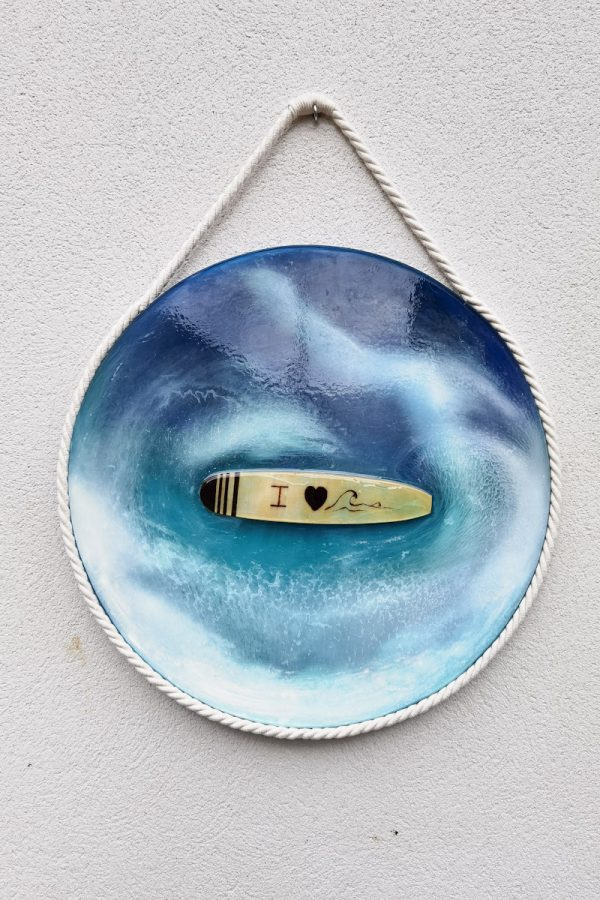 Mural de resina epoxy imitando las formas y colores del mar